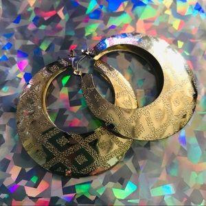 Gold colored vintage hoop aztec chevron earrings
